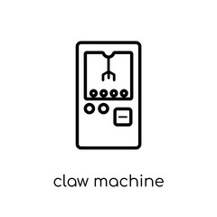 claw machine icon. Trendy modern flat linear vector claw machine icon on white background from thin line Circus collection, outline vector illustration