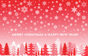 Merry Christmas and happy new year card in red