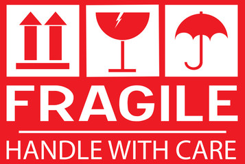 Stcker: fragile - hadle with care - this way up Wall mural