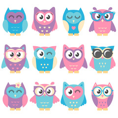Icons of cute colorful owls isolated on white