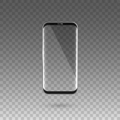 Black touchscreen smartphone. Transparent screen. Vector