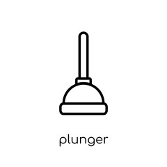 Plunger icon. Trendy modern flat linear vector Plunger icon on white background from thin line Cleaning collection