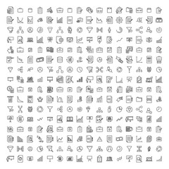 Set of strategy thin line icons.