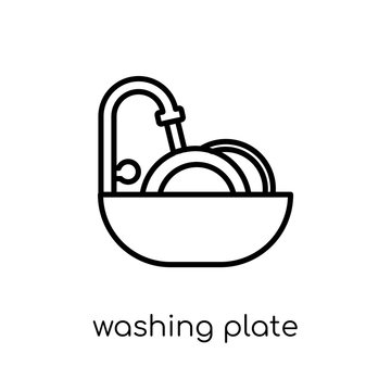 Washing plate icon. Trendy modern flat linear vector Washing plate icon on white background from thin line Cleaning collection