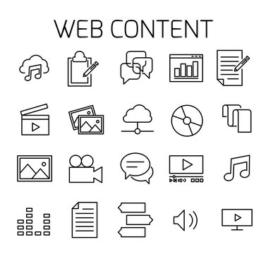 Web content related vector icon set.