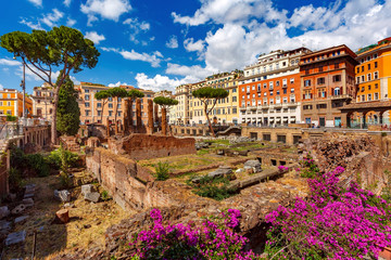Largo di Torre Argentina, roman ancient ruins of four Roman Republican temples and the remains of Pompey Theatre in Rome, Italy.