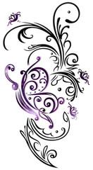 Blumenranke mit großem Schmetterling und bunten Blüten. Sehr feminin in grau und violett. Florales Design mit Brush Effekten.