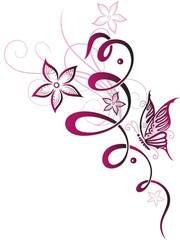 Blumenranke mit Schmetterling und bunten Blüten. Sehr feminin in Kirschrot und Rosa. Tolles Design für den Sommer.