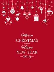 Greeting card or banner with the words We wish you a Merry Christmas and Happy New Year. Abstract Christmas banner with symbols of Christmas. Santa, tree, deer, gift. flat vector in linear style