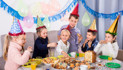 happy children having a good time at a birthday party