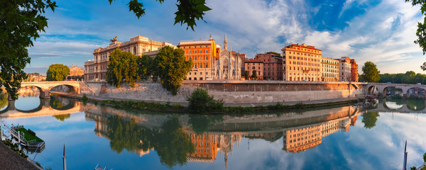 Panoramic view of Tiber riverside with Church of the Sacred Heart of Jesus in Prati and mirror reflection in the morning in Rome, Italy