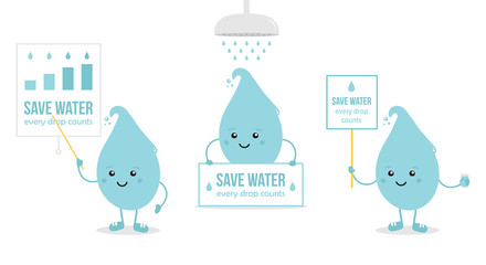 Set, collection of cartoon doodle water drop characters holding card in hands, giving presentation, asking to save water. Concept of right use of water resources.