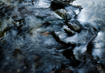 abstract Dark blue wild river rapids