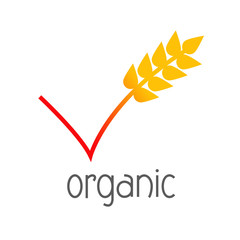 Logotipo abstracto con texto organic y símbolo validación con espiga de cereal en color naranja