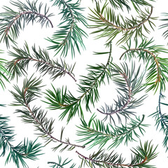 Seamless background with fir tree