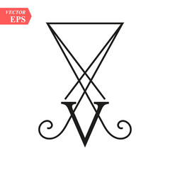 LUCIFER Light-bringing , sigil of Lucifer symbol on white background eps10