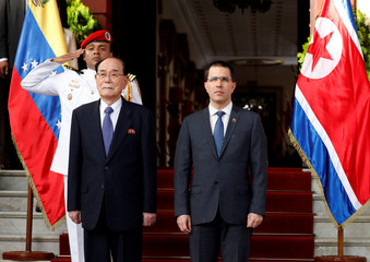 Venezuela's Foreign Minister Jorge Arreaza meets with North Korea's President of the Supreme People's Assembly Kim Yong Nam at Miraflores Palace in Caracas