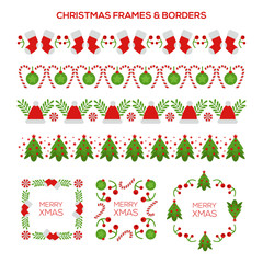 set of floral elements christmas borders for design