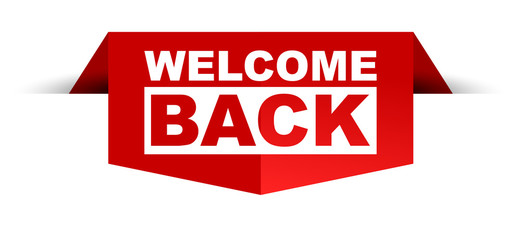 red vector banner welcome back