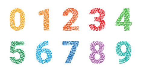 hand drawing colored numbers illustration