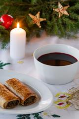 Obraz Polish Christmas borscht with mushroom and cabbage pastry homemade - fototapety do salonu