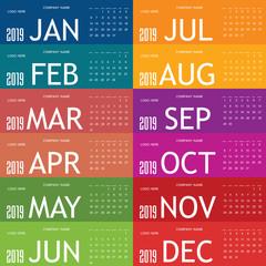 calendar 2019 in colorful illustration