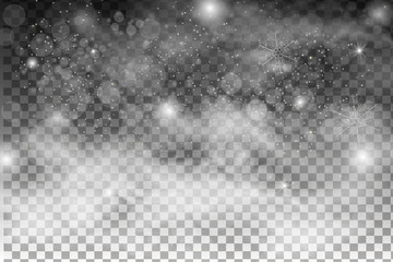 Christmas falling snow vector isolated on dark background