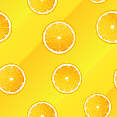 Seamless pattern of realistic orange slices on a yellow background
