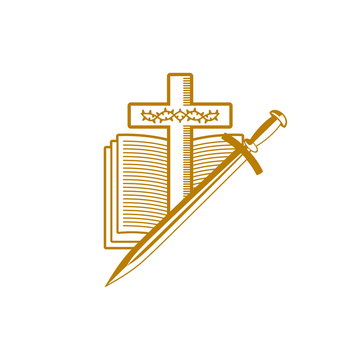 Church logo. Christian symbols. The cross of Jesus Christ, the Holy Scriptures, the crown of thorns and the sword.