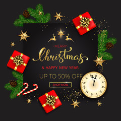 Merry Christmas sale banner with gift boxes golden stars and christmas tree branches on black background. Vector illustration template greeting cards with hand lettering