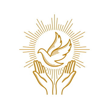 Church logo. Christian symbols. Praying hands and dove - a symbol of the Holy Spirit.