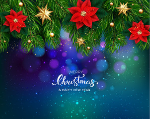 Holiday's Background with Season Wishes and Border of Realistic Looking Christmas Tree Branches