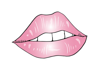 Woman lips. Sketchy style
