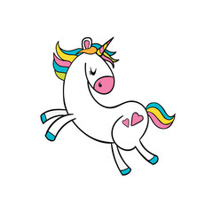 Vector cartoon funny unicorn illustration