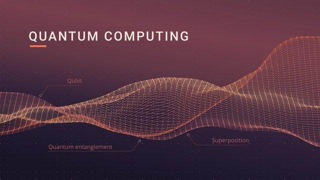 Quantum computing abstract concept. Spatial flowing data