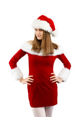 Beautiful woman in Santa Claus clothes