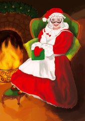 Mrs. Claus with glasses in a red dress and hat sits in a large green armchair near fireplace with a book in hand