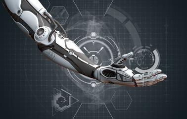 Robot right arm highly detailed model on digital modern background, 3d rendering