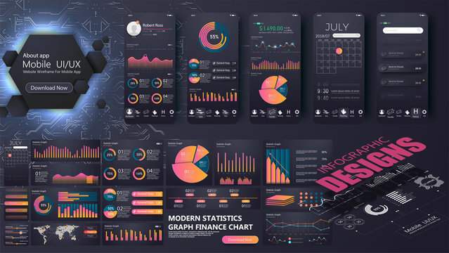 A modern infographic template for a website or mobile application.Information Graphics elements for UI UX design. mobile app and website development. Easy to edit and customize.Vector illustration