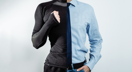 A man dressed in half in athletic clothing and in the other half in a business outfit on a blue, smoky background. The concept of practicing sports by businessmen, sports training.