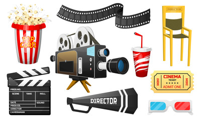 Movie elements set. Vintage online cinema, Popcorn and 3D Glasses. Camera and cinematography, tickets. Filmmaking and video cassette, chair, film stock. entertainment and recreation. set of icons.