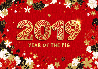 Year Of The Pig Banner with Gold 2019 Paper Cutting or Laser Cut Numbers on Bright Red Background with Sakura and Stars. Vector Japanese or Chinese illustration and Classic Waves Pattern.