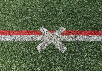 Close up of an American football field marking