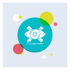 design, designer, illustration, sketch, tools White Glyph Icon colorful Circle Background