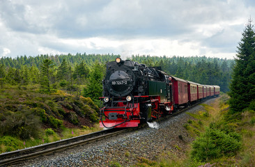 old steam train railway brockenbahn