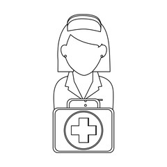 Nurse with first aids suitcase