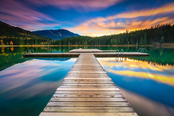 Scenic view of dock against sky