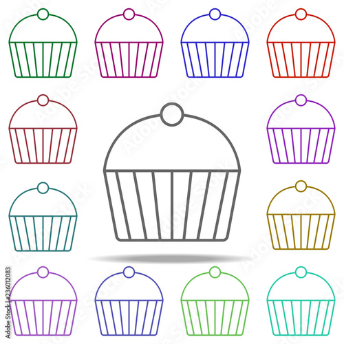 Cup Cake Concept Line Icon Elements Of Fast Food In Multi