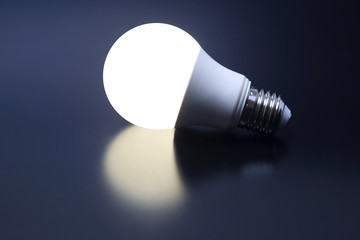 modern led lamp is turned on a dark background