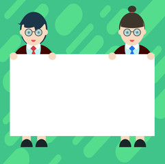 Business concept Empty template copy space isolated Posters coupons promotional material. Male and Female in Uniform Standing Holding Blank Placard Banner Text Space